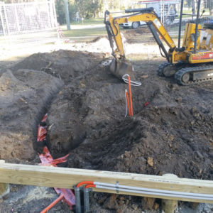 A photo of installing underground power by our electrician