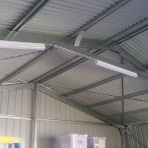 A photo of newly installed shed lighting by our Electrician
